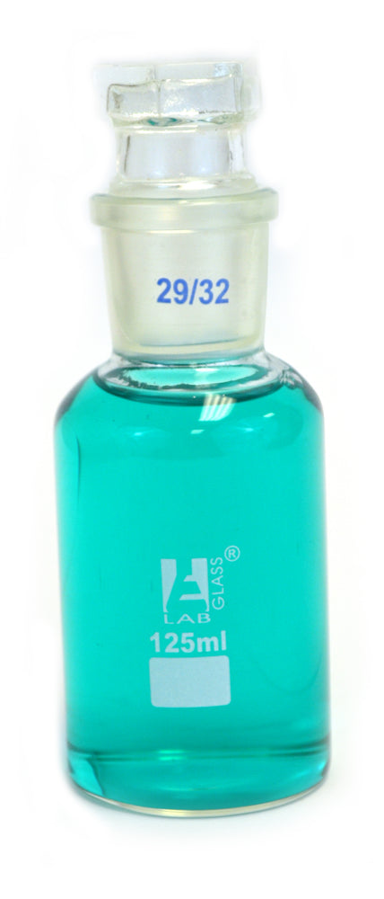 Eisco Labs 125ml Reagent Glass Bottle - Wide mouth with Stopper
