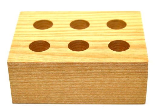 "Wooden Entomology Pin Storage Block, 6 Holes for Various Pin Sizes, 3/8"" Diameter Holes - Eisco Labs"