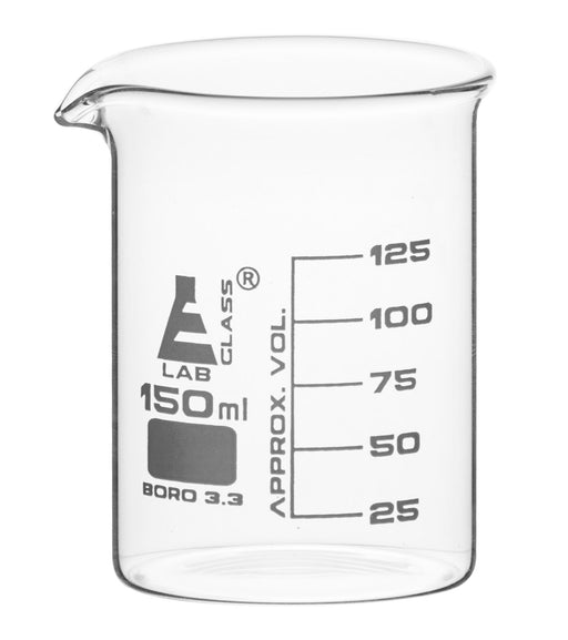 Beaker, 150ml - Low Form with Spout - White, 25ml Graduations - Borosilicate 3.3 Glass