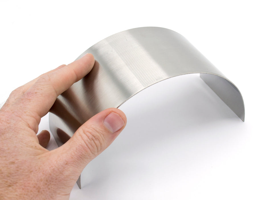 "Plane Half Cylinder Concave Stainless Steel Mirror for use with Ray Box - 6.25"" x 2.875"" - 1mm Thick Approx. - Eisco Labs"