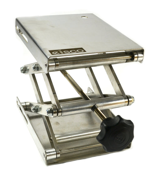 "Eisco Labs Stainless Steel Lab Jack - 6.5"" x 5"" Surface - 11"" max height - Dynamic Load - 7kg Static Strength - 30kg"