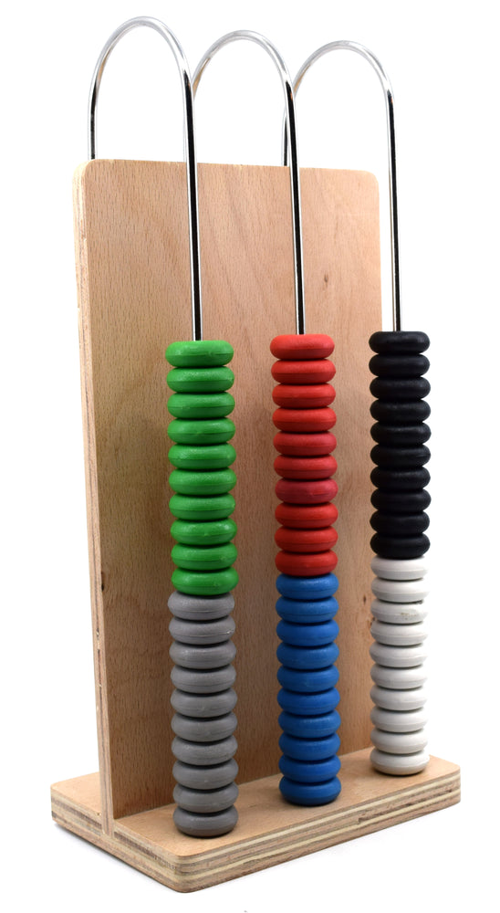 Abacus, 3 U-shaped steel wires, Wooden Frame, Arithmetic Learning and Calculation Tool for students and teachers - Eisco Labs
