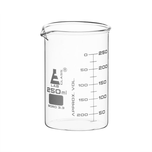 12PK Beakers, 250ml - ASTM - Low Form, Dual Scale Graduations - Borosilicate Glass
