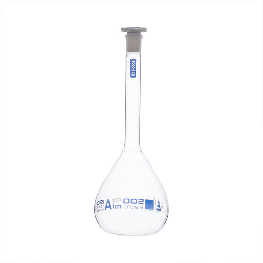 Volumetric Flask, 500ml - Class A, ASTM - Polypropylene Stopper - Blue Graduation - Borosilicate Glass