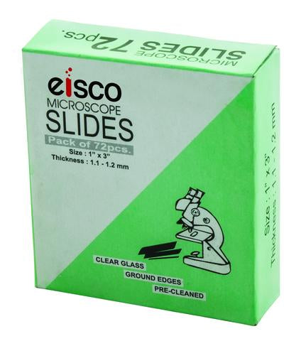 "Microscope Slides, Glass - 72 pack - 1""x3"" - Eisco Labs"
