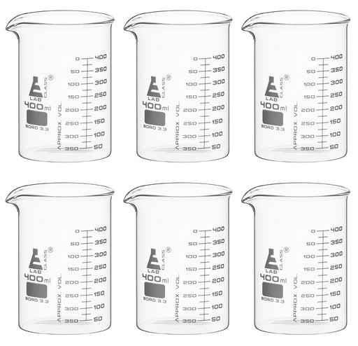 6PK Beakers, 400ml - ASTM - Low Form, Dual Scale Graduations - Borosilicate Glass