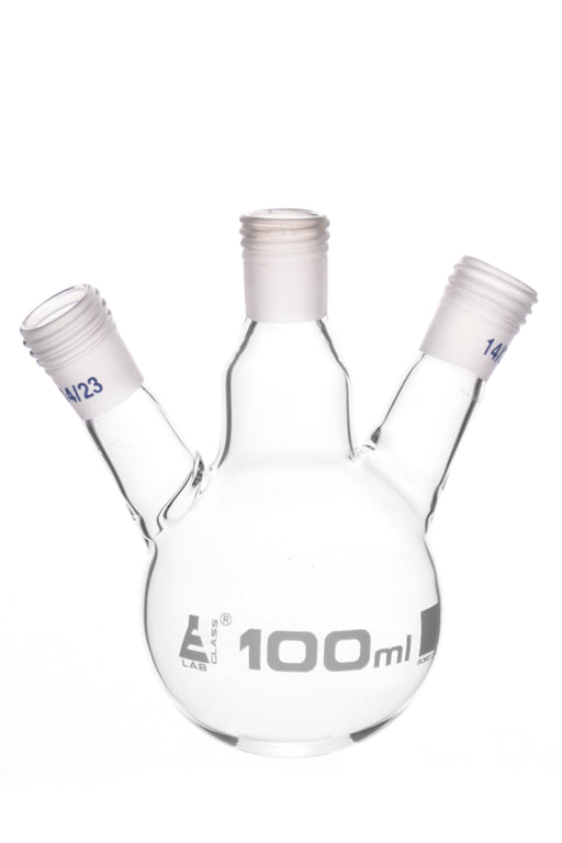 Distillation Flask with 3 Necks, 100ml Capacity, 14/23 Joint Size, Interchangeable Screw Thread Joints, Borosilicate Glass - Eisco Labs