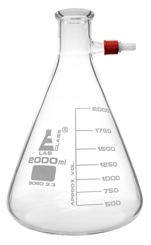 Filtering Flask, 2000ml - Borosilicate Glass - Conical Shape, with Integral Plastic Side Arm - White Graduations - Eisco Labs