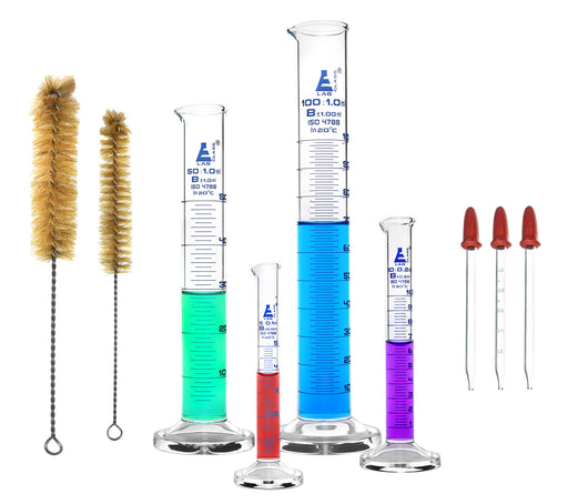 Safety Pack Measuring Cylinder Set with 3 Droppers & 2 Cleaning Brushes - 5ml, 10ml, 50ml & 100ml - Class B