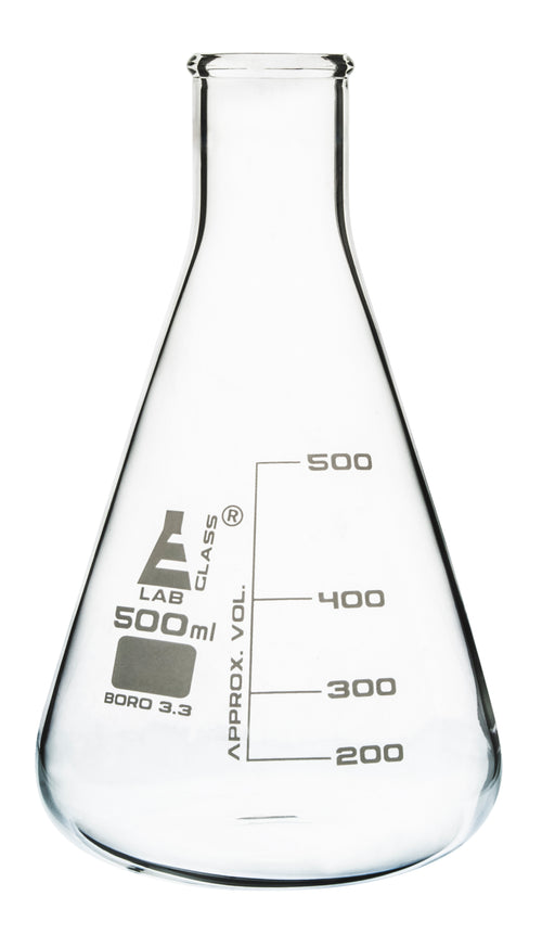 Erlenmeyer Flask, 500ml - Borosilicate Glass - Narrow Neck, Conical Shape - White Graduations - Eisco Labs