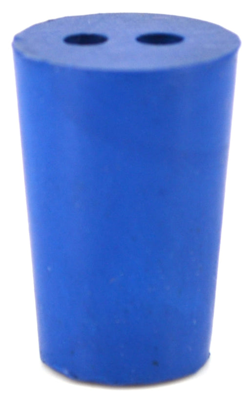 10PK Neoprene Stoppers, 2 Holes - ASTM - Size #0 - 13mm Bottom, 17mm Top, 25mm Length