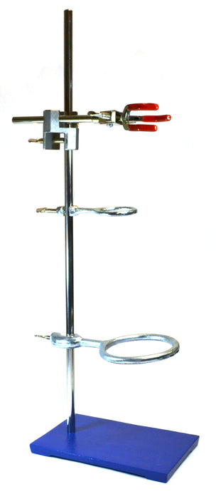 "6 Piece Set - Rectangular Retort Stand, Rod, Clamp & Ring Set - 10""x9"" Steel Base, 23.6"" Stainless Steel Rod, 2 Steel Support Rings, 3-Pronged Dual Adjusting Clamp - Eisco Labs"