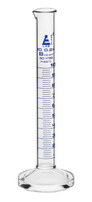 Graduated Cylinder, 10ml - Class B - Blue Graduations, Round Base