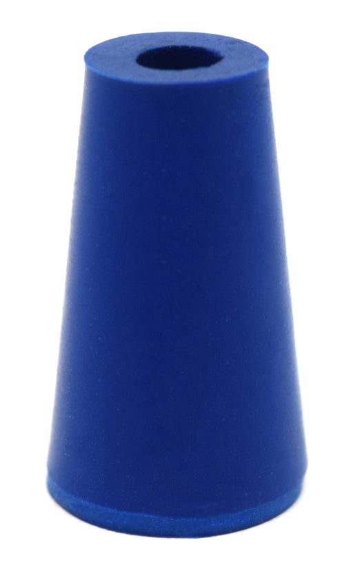 Neoprene Stopper, ASTM - Pack of 10 - 1 Hole - Blue, Size #000: 8.2mm Bottom, 12.7mm Top, 25mm Length - Eisco Labs