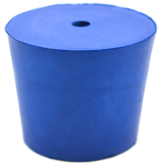 Neoprene Stoppers, 1 Hole - Blue - Size: 40mm Bottom, 49mm Top, 40mm Length - Pack of 10