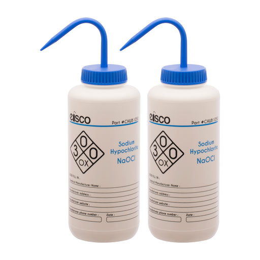 2PK Wash Bottle for Sodium Hypochlorite (Bleach), 1000ml - Labeled (2 Color)