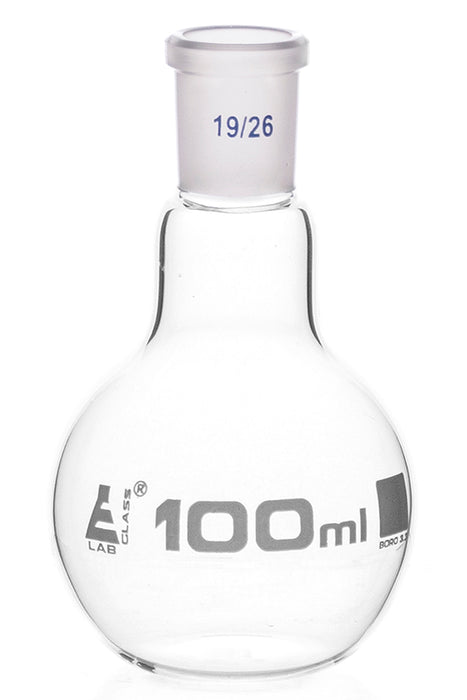 Florence Boiling Flask, 100ml - 19/26 Joint, Interchangeable - Borosilicate Glass - Flat Bottom, Short Neck - Eisco Labs