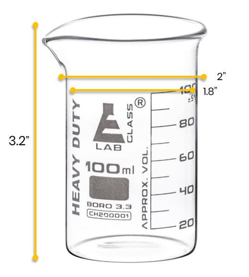 12PK Heavy Duty Beakers, 100ml - 5mm Thick, Uniform Walls - Superior Durability & Chemical Resistance - White Graduations - Borosilicate 3.3 Glass - Eisco Labs