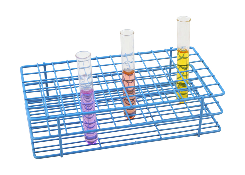 Blue Epoxy Coated Steel Wire Test Tube Rack, 72 Holes, Outer Diameter permitted of tubes 15-16mm or less , 6x12 Format