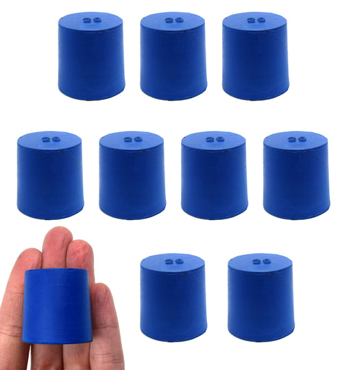 Neoprene Stoppers, Solid Blue - Size: 29mm Bottom, 31mm Top, 32mm Length - Pack of 10