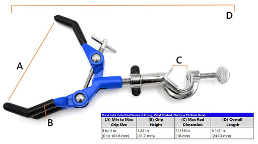 "3 Finger Extension Clamp on Swivel Bosshead - 3.4"" Max Opening"