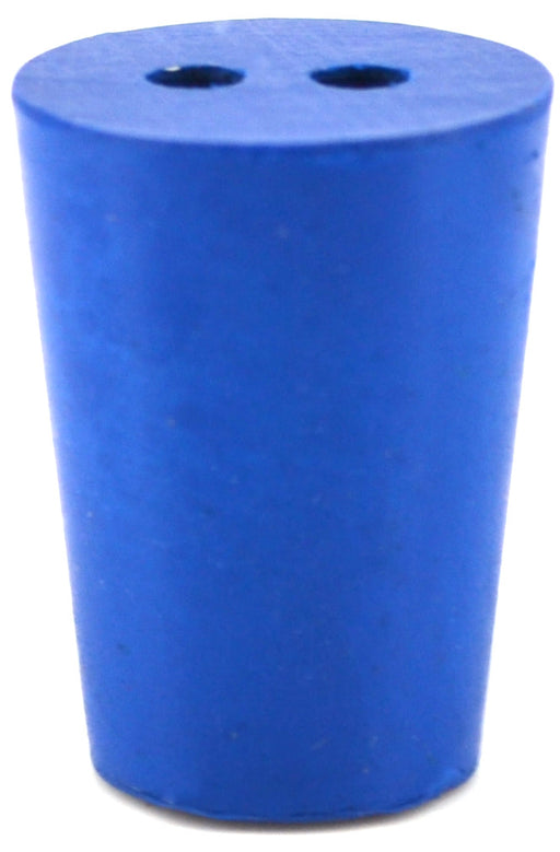 10PK Neoprene Stoppers, 2 Holes - ASTM - Size #1 - 14mm Bottom, 19mm Top, 25mm Length