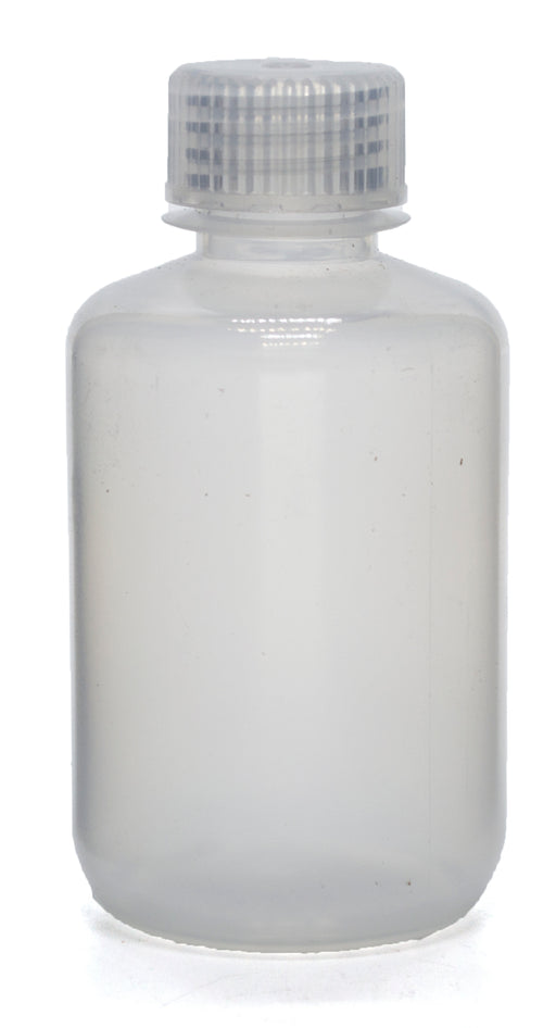 "125mL Rigid Plastic Reagent Bottle with Narrow Mouth (0.7"" ID) and Screw Cap - Polypropylene - Eisco Labs"