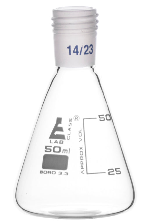 Erlenmeyer Flask with 14/23 Joint, 50ml Capacity, 25ml Graduations, Interchangeable Screw Thread Joint, Borosilicate Glass - Eisco Labs