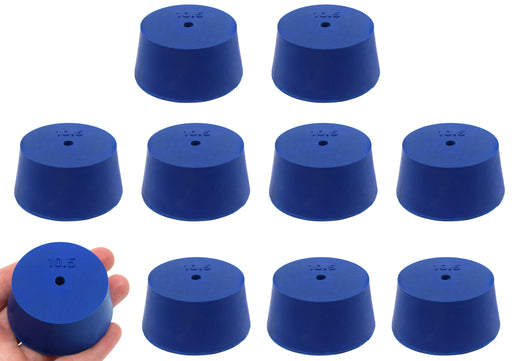 Neoprene Stopper, ASTM - Pack of 10 - 1 Hole - Blue, Size #10.5: 45mm Bottom, 53mm Top, 25mm Length - Eisco Labs