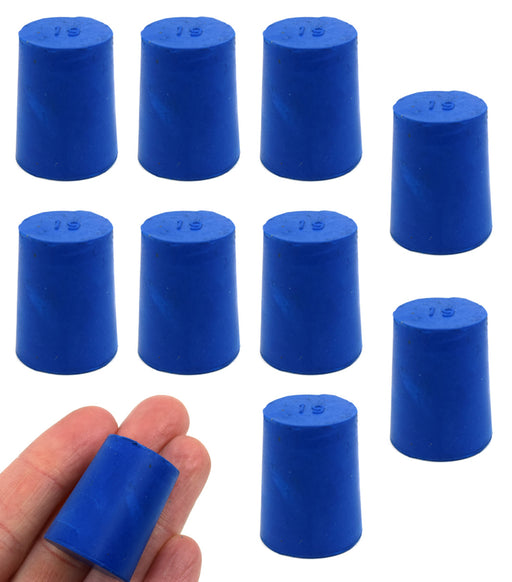 Neoprene Stoppers, Solid Blue - Size: 19mm Bottom, 22mm Top, 28mm Length - Pack of 10
