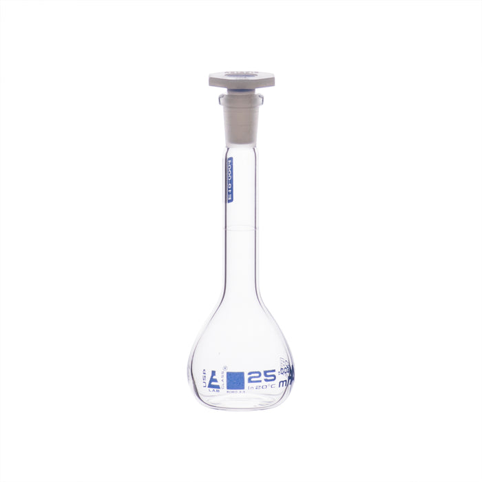 Volumetric Flask, 25ml - Class A, ASTM - Polypropylene Stopper - Blue Graduation - Borosilicate Glass