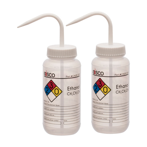 2PK Performance Plastic Wash Bottle, Ethanol, 500 ml - Labeled (4 Color)