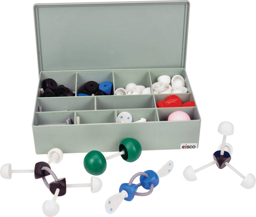 Molecular Model Kit (263 Pieces), VSEPR Model Advanced Set, Organic and Inorganic Chemistry, Multifaced for Complex Arrangements with Double/Triple Bonds, Orbitals with 2 Dots, Large Pieces, Case Incl