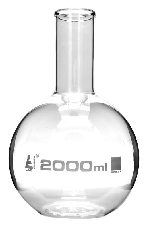 Boiling Flask, 2000ml - Borosilicate Glass - Flat Bottom, Narrow Neck - Eisco Labs