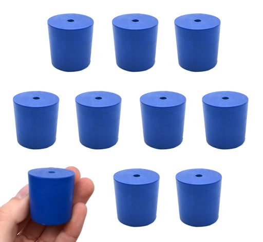 Neoprene Stoppers, 1 Hole - Blue - Size: 29mm Bottom, 31mm Top, 32mm Length - Pack of 10