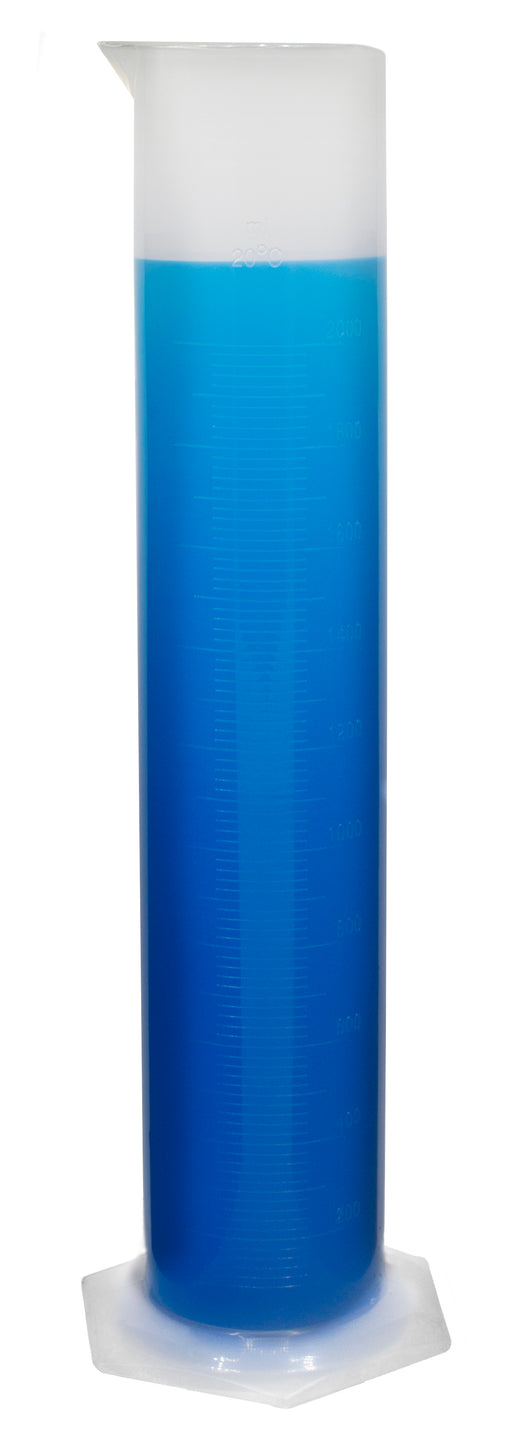 Measuring Cylinder, 2000ml - Class B Tolerance - Round Base - Polypropylene Plastic - Industrial Quality, Autoclavable - Eisco Labs