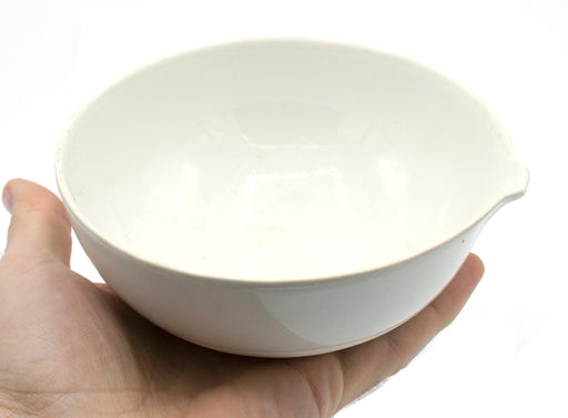 "450mL capacity, Round Evaporating Dish with Spout - Porcelain - 5.2"" Outer Diameter, 2.2"" Tall"