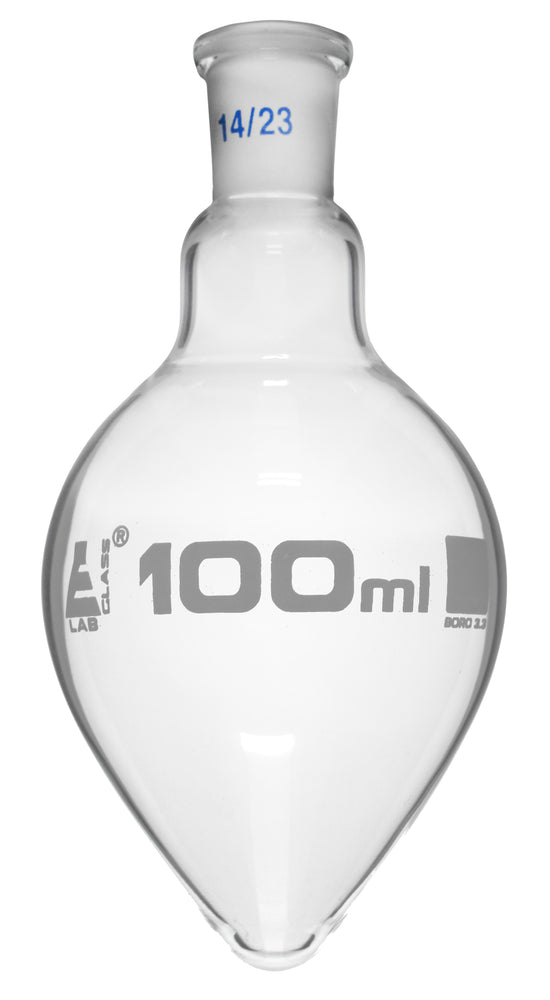Boiling Flask, 50ml - 14/23 Interchangeable Joint - Borosilicate Glass, Pear Shape - Short Neck - Eisco Labs