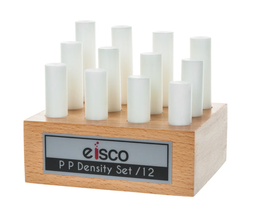 12pc Cylindrical Bars Density Set, Polypropylene - Wooden Storage Block