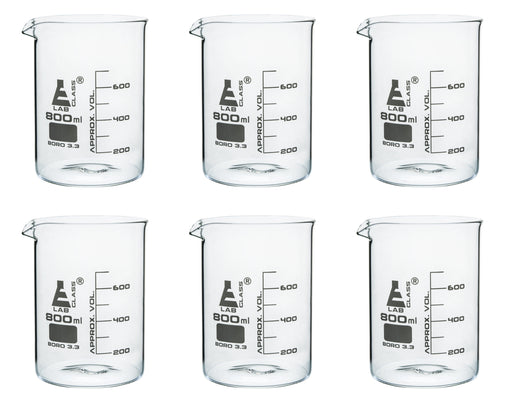 6PK Beakers, 800ml - Griffin Style, Low Form with Spout - White, 100ml Graduations - Borosilicate 3.3 Glass