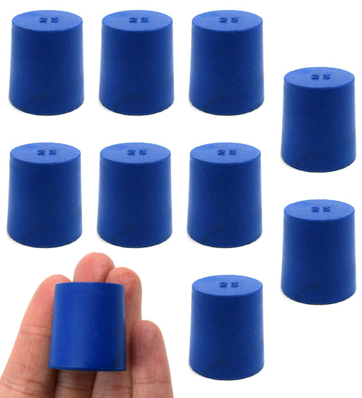 Neoprene Stoppers, Solid Blue - Size: 23mm Bottom, 26mm Top, 28mm Length - Pack of 10