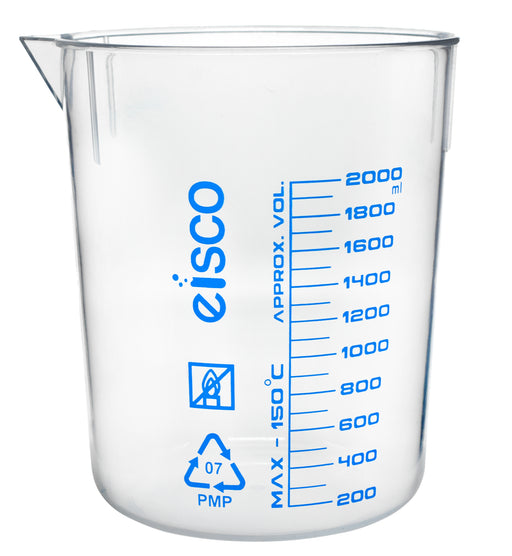 Beaker, 2000ml - Blue, Printed Graduations, Spout - Excellent Optical Clarity - TPX Plastic - Eisco Labs