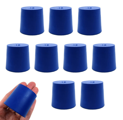Neoprene Stoppers, Solid Blue - Size: 38mm Bottom, 42mm Top, 40mm Length - Pack of 10