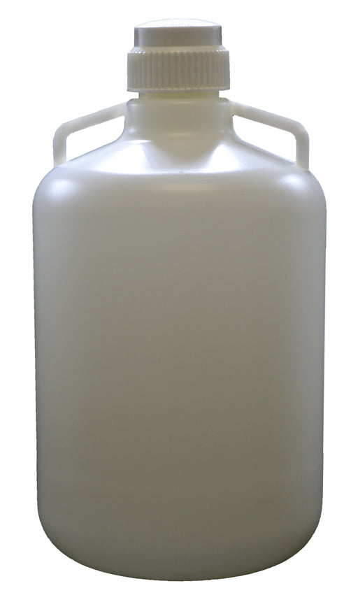 "20 Liter (5.25 Gallon) Carboy Jug with Gasket Cap, White Premium Polypropylene with 2 Handles, 21"" H - 11 3/4"" D with 2 5/8"" Opening - Eisco Labs"