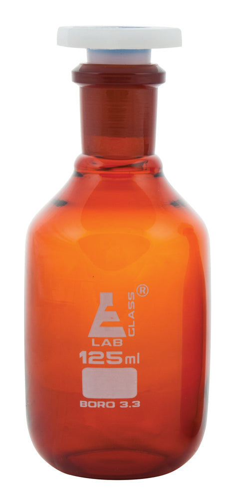 Eisco Labs 125ml Amber Reagent Bottle , Narrow Mouth with Acid Proof Polypropylene stopper, socket size 19/26