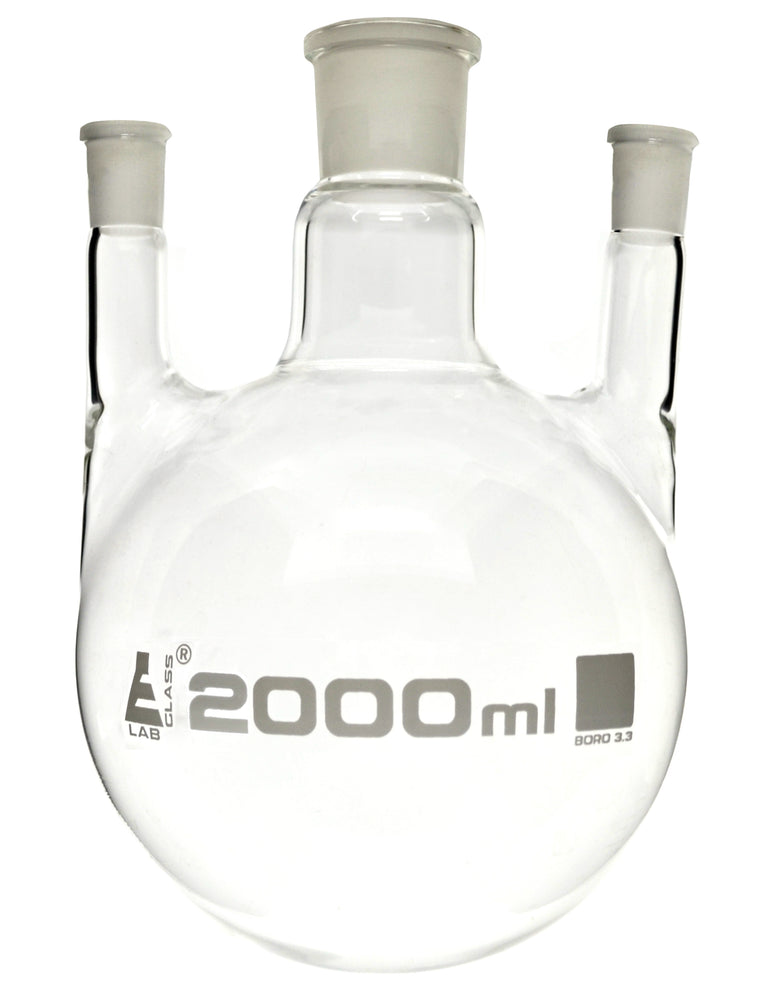 Distilling Flask, 2000ml - 3 Parallel Necks, 24/29 Center, 19/26 Side Sockets - Interchangeable Ground Joints - Round Bottom - Borosilicate Glass - Eisco Labs