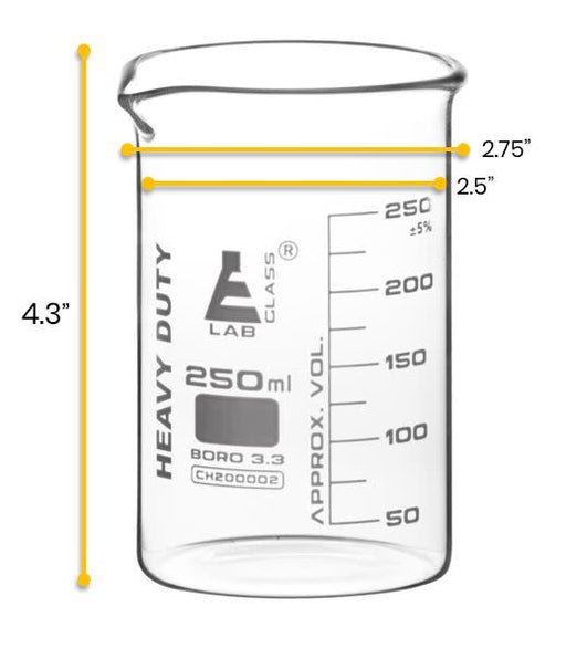 12PK Heavy Duty Beakers, 250ml - 5mm Thick, Uniform Walls - Superior Durability & Chemical Resistance - White Graduations - Borosilicate 3.3 Glass - Eisco Labs