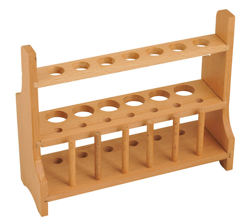 Wooden Test Tube Rack with 6 Draining Pins - Holds 13 Tubes - Polished Wood