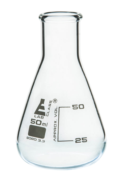 Erlenmeyer Flask, 50ml - Borosilicate Glass - Narrow Neck, Conical Shape - White Graduations - Eisco Labs