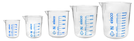 5pc Beaker Set, TPX Plastic - 50, 100, 250, 600 & 1000 - Screen Printed Graduations, Spout for Easy Pouring - Excellent Optical Clarity - Eisco Labs